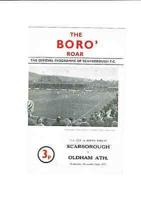 SCARBOROUGH   v. OLDHAM   PROGRAMME  22.11.1972 FA CUP 1st ROUND REPLAY