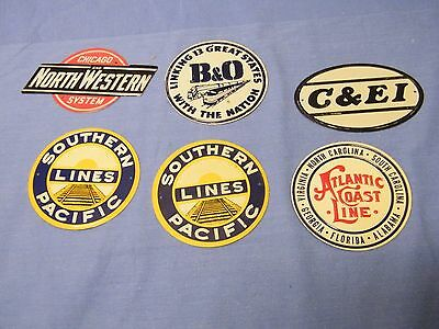 Vtg Post Cereal Southern Pacific- B&o- N. Western Railroad Tin Premium 6 Signs