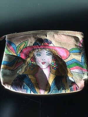 Vintage Emily Ann Hand Painted Genuine Leather Clutch Purse Bag Retro