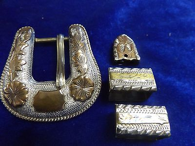 Vintage Flemming Silver Overlaid Belt Buckle with 2 Keepers and Tip