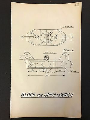 Harland & Wolff - 1930's Shipyard Eng. Drawing, BLOCK FOR GUIDE TO WINCH  (P131)