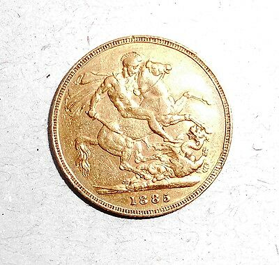 1885 Melbourne Gold Sovereign young Queen Victoria head/St. George  on back