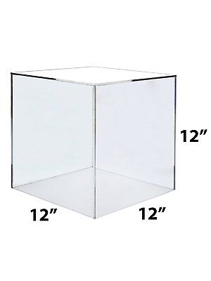 "12"" x 12"" x 12"" Clear Acrylic 5 Sided Display Cube"
