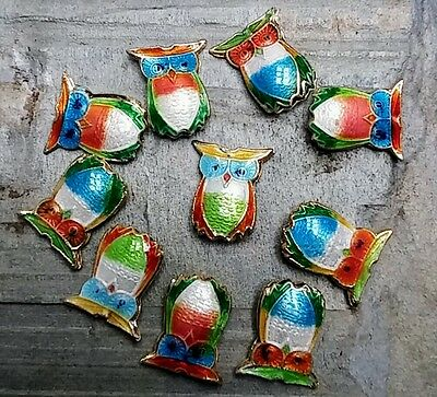 10  mixed colour Cloisonné owl beads. 16mm x 14mm  -jewellery making