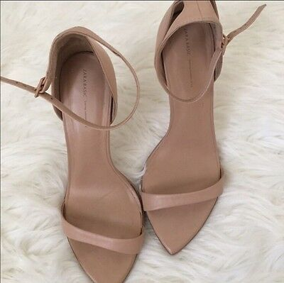 Zara Nude Barely There Leather  Ankle Strap Shoes Sandals Uk 7 Eu 40