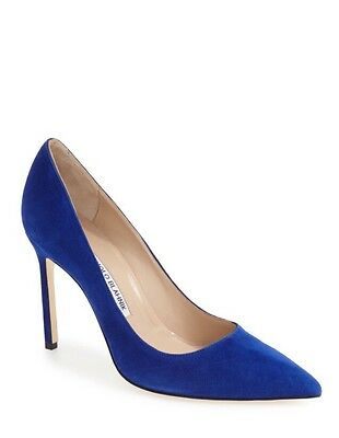 Authentic Manolo Blahnik BB Pointy Toe Pump In Electric Blue Suede- Size 9.5