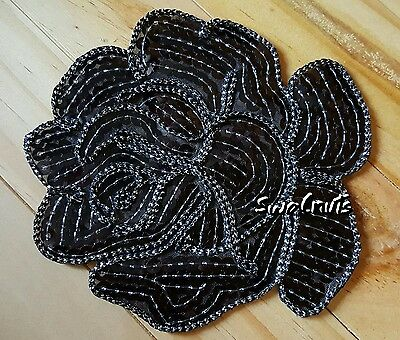 BLACK Iron on Transfer Peony Rose Flower Sequin Embroidered Patch Applique Motif