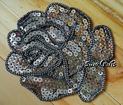 SILVER Grey Iron on Peony Rose Flower Sequin Embroidered Patch Applique Motif