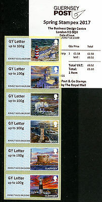 Guernsey 2017 MNH Lighthouses Spring Stampex Post & Go 6v GY Letter GG01 Stamps