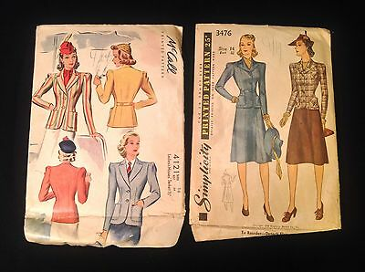 Lot Of 2 1940'S Sewing Patterns, Suit Jacket, Mccall Simplicity
