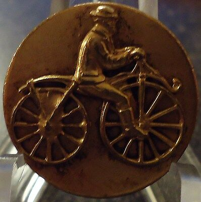 Vintage Brass Gentleman On A Bicycle Button 3/4""