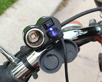 Waterdrop 12V USB Charger Motorbike Motorcycle GPS Sat Nav Power Adapter Socket