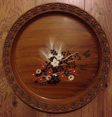 Retro Round Floral Serving Tray With Carved Edge