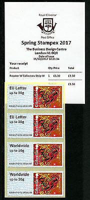 Gibraltar 2017 MNH Year of Rooster Spring Stampex Post & Go 4v Coll Str W Stamps