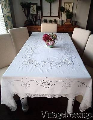 "Gorgeous Antique Point de Venise Lace & Linen Tablecloth 83""x 67"" Bridal Table"
