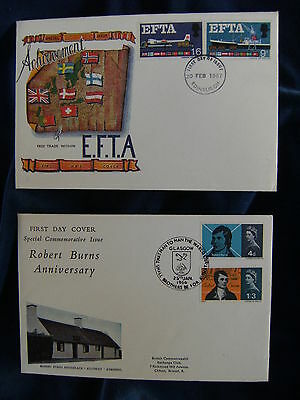 1966 Burns & 1967 EFTA Phosphor Illustrated First Day Covers Special Handstamps