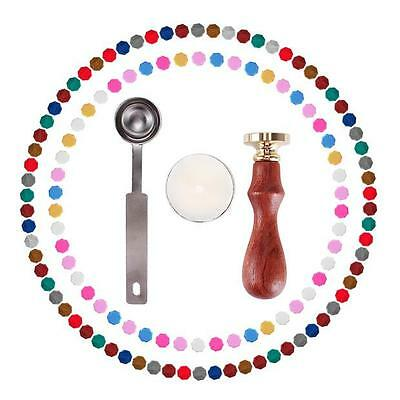 120 Pieces Sealing Wax Beads Candle Melting Spoon and Seal Stamp Suit Envelopes