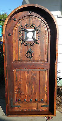 RUSTIC SOLID wood ARCHED DOOR reclaimed lumber wrought iron speakeasy glass