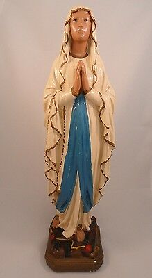 "13"" Medium Our Lady of Lourdes Vintage Plaster Statue Immaculate Conception Mary"