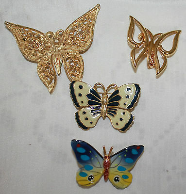 4 Butterfly Brooches