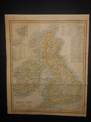 British Isles 1854 Map Hand Colored England Scotland Ireland Irish Counties
