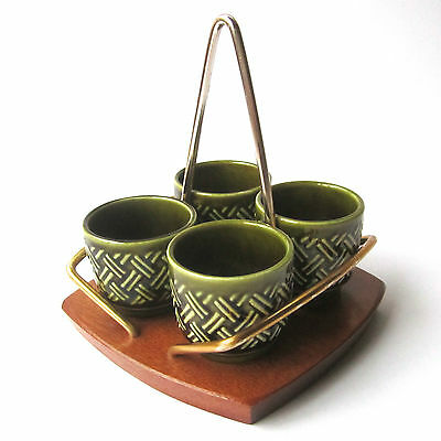 Vintage WYNCRAFT LORD NELSON Eggcup Set with Teak Stand Mid Century Retro 70s