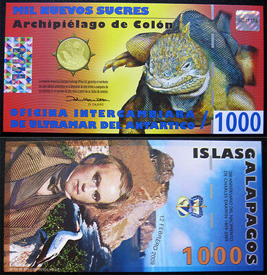 Galapagos Island 1000 Sucres 2010 Unc Polymer Banknote