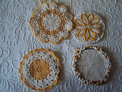Vintage Hand Made Crocheted Hot Pads Pot Holders