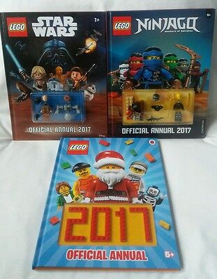 3 Official 2017 Lego Annuals Star Wars Ninjago Lego Includes Mini Figures NEW