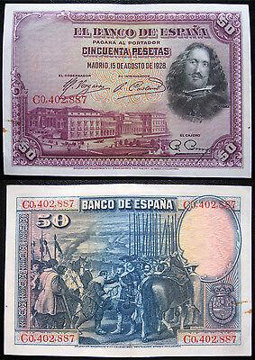 Spain 50 Pesetas 15.12.1928 Circulated Banknote (P75)