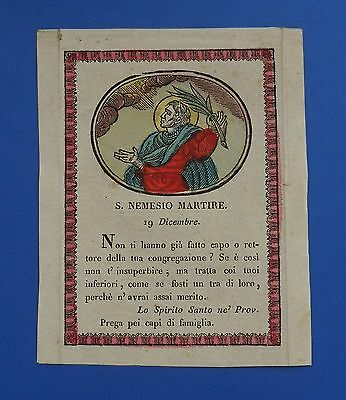 Santino Holy card Incisione Engraving San Nemesio Martire