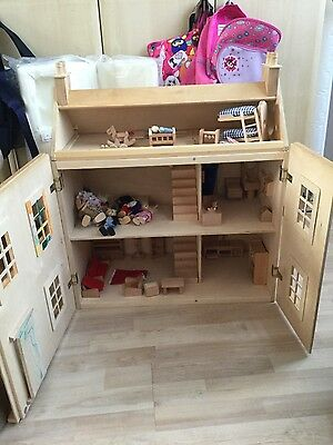 Wooden Dolls House inc Furniture and Large Family