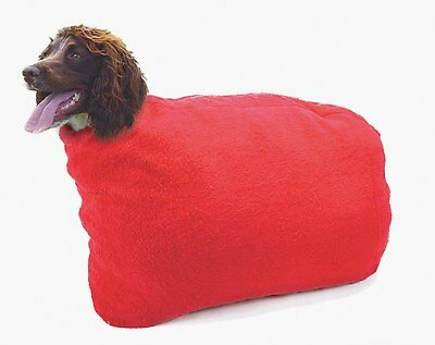 Pennine Dry Dog Bag Toweling Drying  Coat Red Strong Toweling Strong Zip