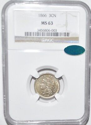 1866 3 Cent - Ngc - Ms 63 - Cac Sticker