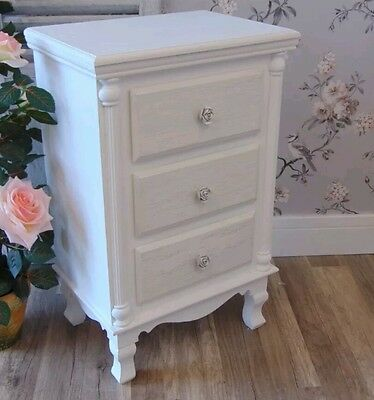White Bedside Table Chest Shabby Bedroom Furniture Ornate Rose French Chic Home