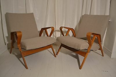 STUNNING PAIR VINTAGE TATRA BENTWOOD LOUNGE ARM CHAIRS - 1950's
