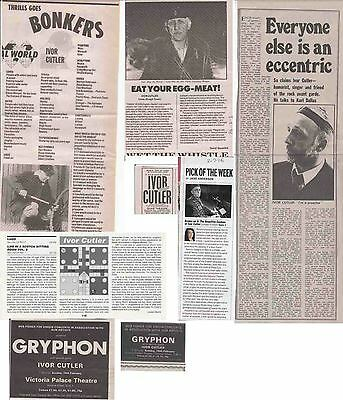IVOR CUTLER : CUTTINGS COLLECTION -interviews adverts-
