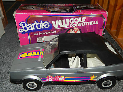 VINTAGE BOXED 1981 VOITURE 50cm VW GOLF CABRIOLET BARBIE CHROMÉ CAR CONVERTABLE