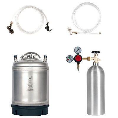 Homebrew Kegging Kit: CO2 Cylinder, 2.5 Gal Keg, Regulator & Parts - SHIPS FREE