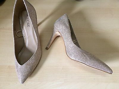 Gold Glitter High Heel Stiletto Shoes Party Or Wedding Size 5
