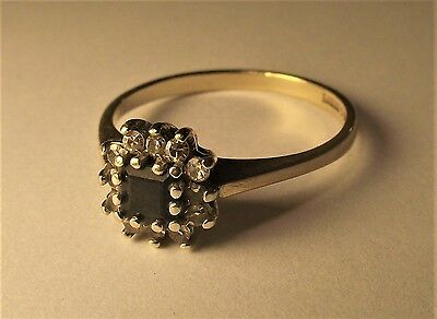 9ct Gold Ring with Square Cut Sapphire and 12 Small Diamonds Size N