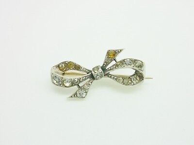 Gorgeous Antique Art Deco Sterling Silver Paste Dainty Bow Brooch + Gold Pin
