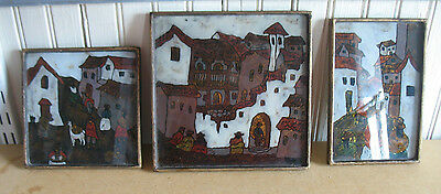 set 3 Vintage Reverse Painting on glass pictures Mid Century Mexico S America