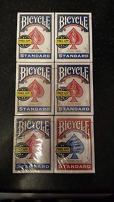 6X Bicycle deck playing cards *NEW* 5 Blue and 1 Red