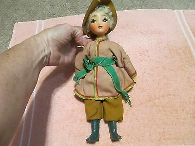 "Antique 12"" Plastic Eyelashes Doll Swiss Alps? European"