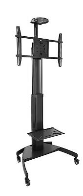 Black TV trolley stand on wheels commercial grade for TV's up to 80 inch LCD/LED