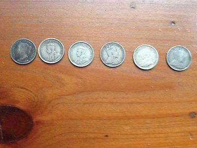 6 Canadian Silver 5-Cent Coins, 1886-1918
