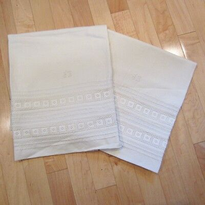 Pair of Antique Vtg Linen Pillow Case Shams w/ Eyelet Trim