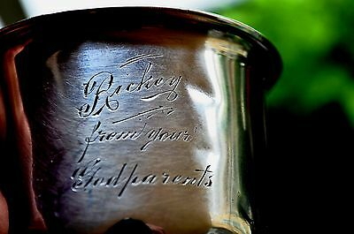 "RODEN BROS BIRKS  Baby Cup &  NAME ""RICKEY""  - ANTIQUE 925 sterling silver"