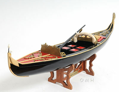 "Handcrafted Venetian Gondola Wooden Work Boat Model 23"" Fully Assembled New"